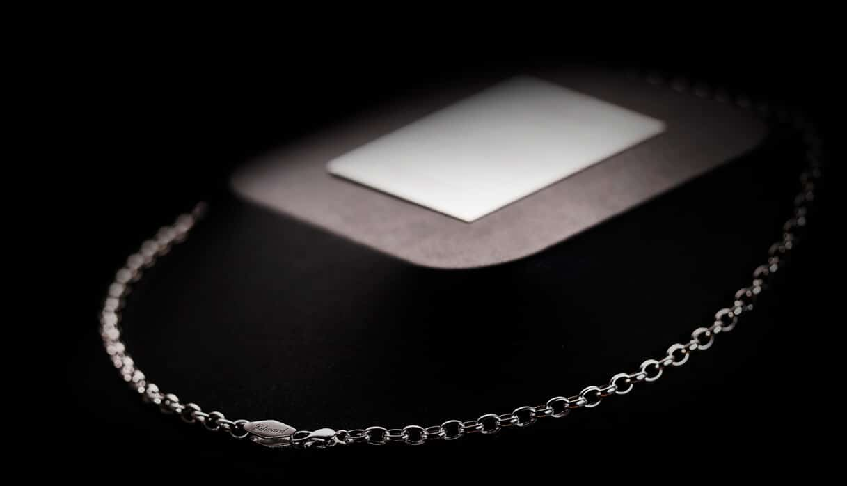 mens platinum necklace circular lock chain rolo chain ByEnzo Jewelry