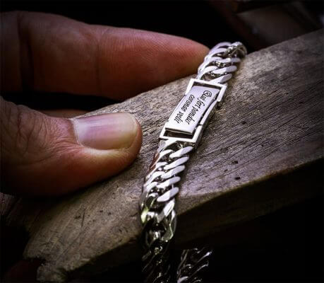 Platinum chain bracelet ByEnzo Pt950 handcrafted men's bracelet with initial engraving