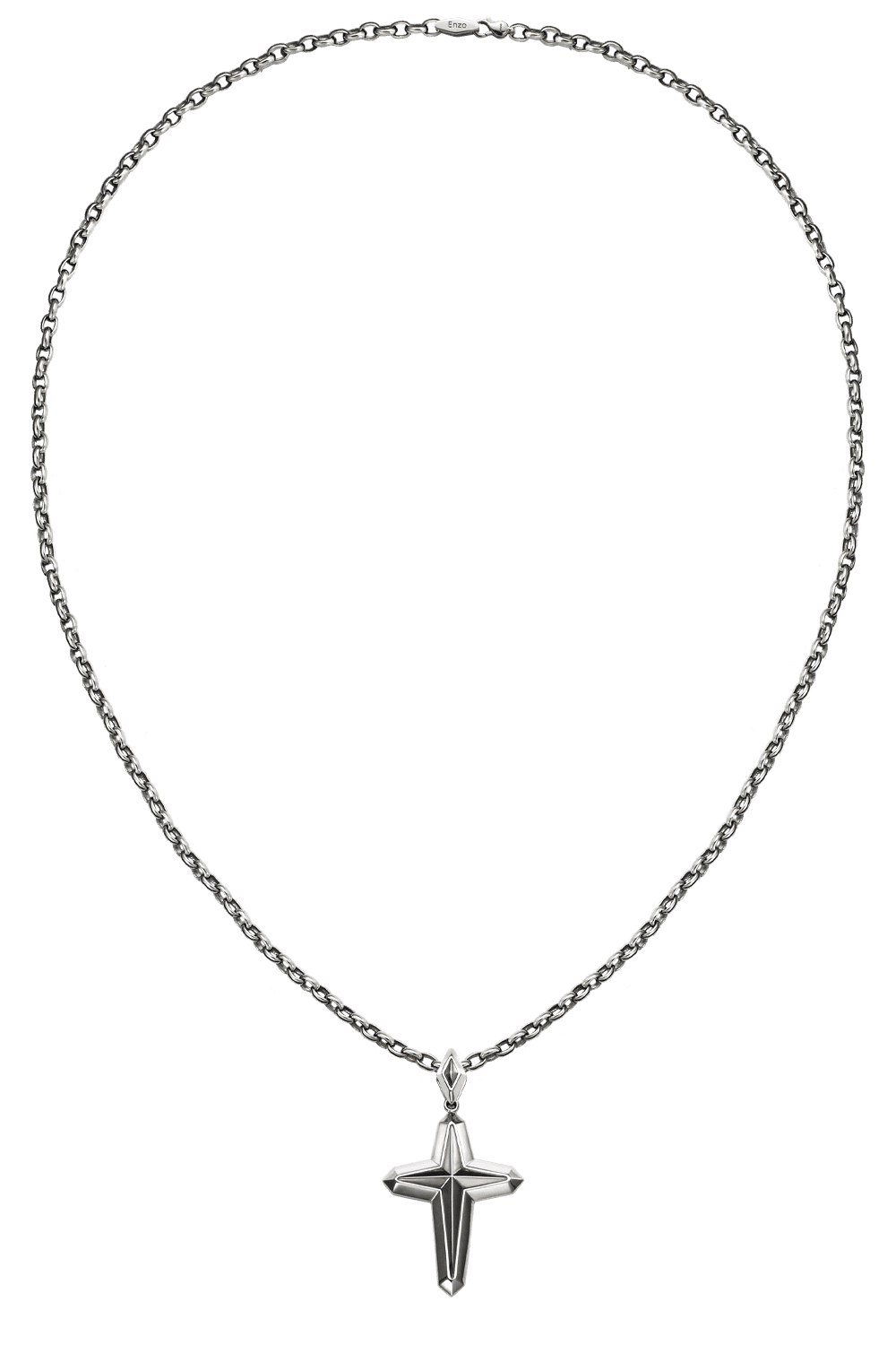 cross platinum pendant with cable lock chain necklace form byenzo jewelry men
