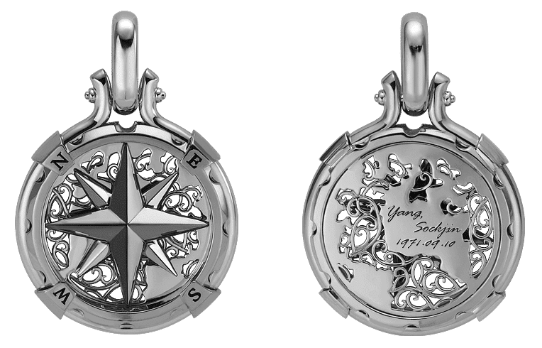 byenzo platinum and 18K gold compass looking pendant with chain for men in lock chain style and arabesque design