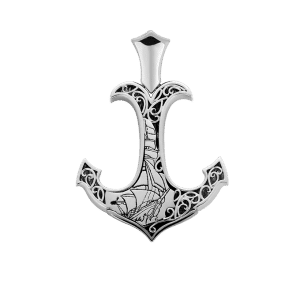 the sea anchor platinum pendant byenzo pt950 men jewelry