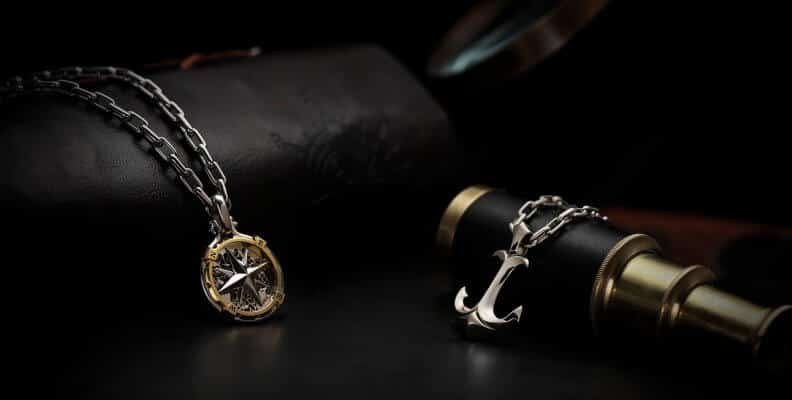 the fortune compass and sea anchor platinum pendant with necklace Pt950 ByEnzo
