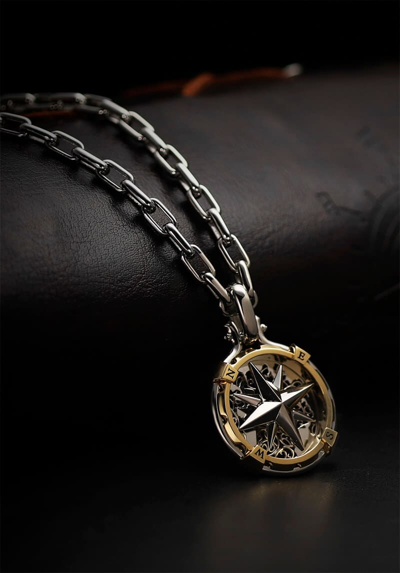 compass pendant 18k gold and platinum pendant for men from byenzo jewelry
