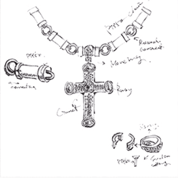 draft of the diamond platinum cross pendant and chain from ByEnzo for men