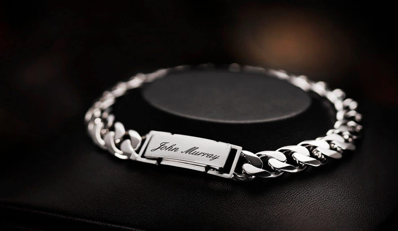 men's bracelet platinum cuban chain for men with engraving handcrafted bracelet ByEnzo Jewelry