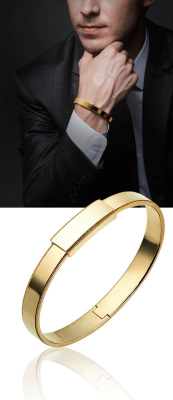 yellow gold bangle bracelet in suit for men from ByEnzo Jewelry