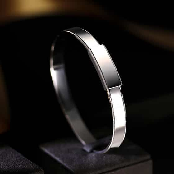 Men's platinum 950 bangle bracelet from ByEnzo Jewelry