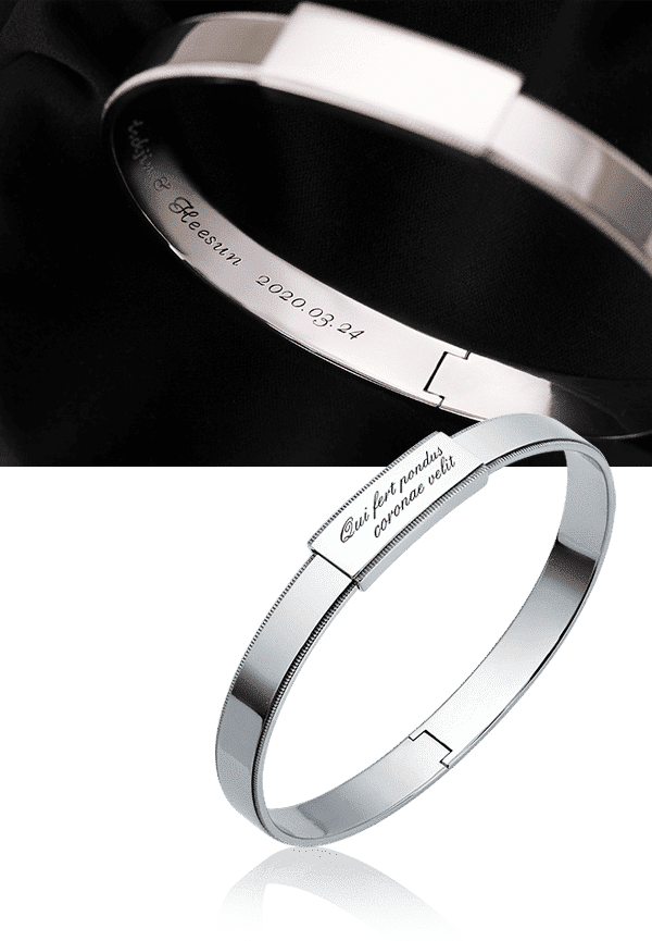 initial engraving in men's platinum bangle bracelet from ByEnzo Jewelry