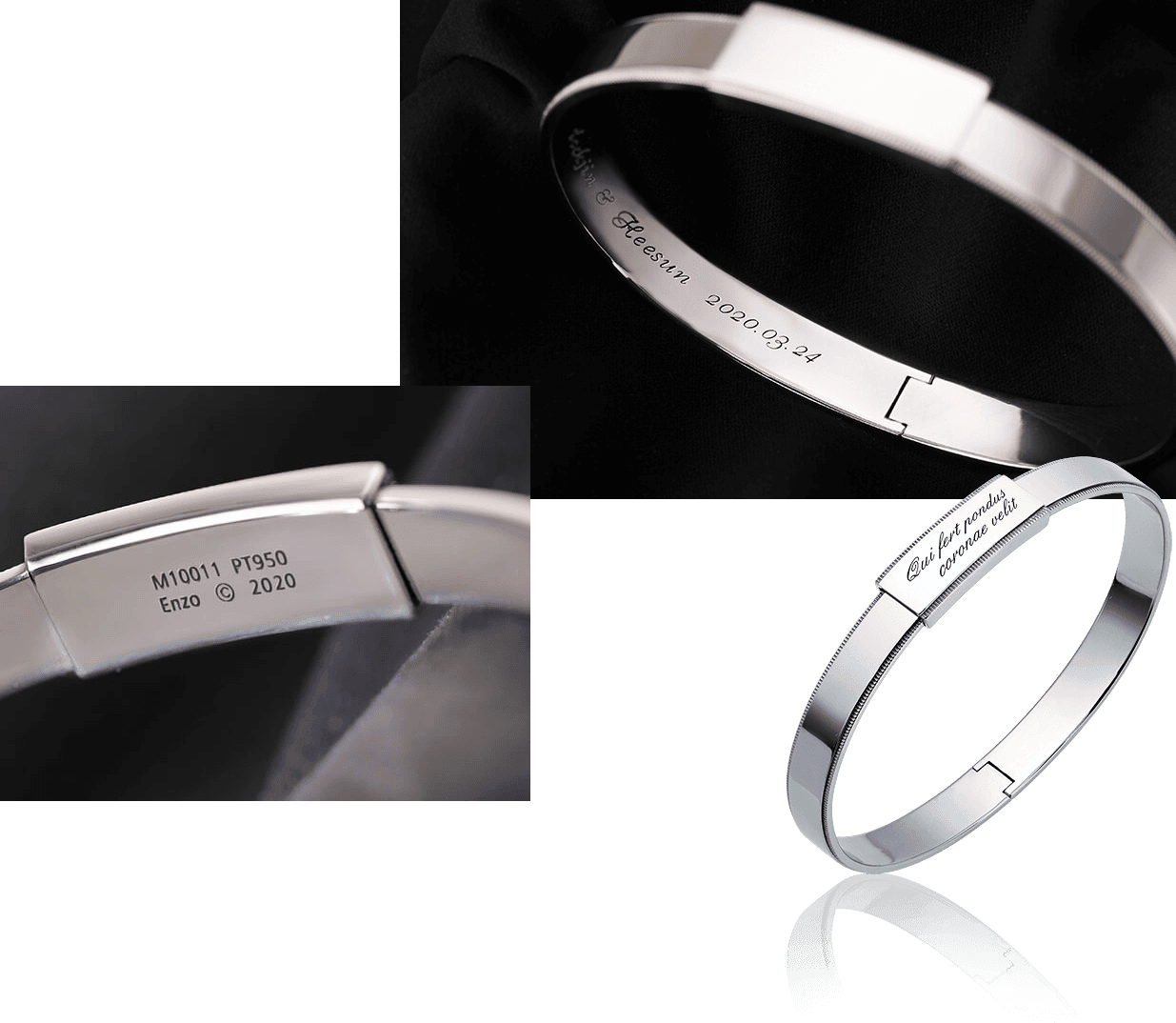 initial engraving in platinum bangle bracelet for men from ByEnzo Jewelry