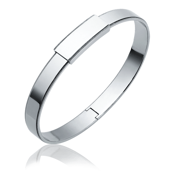 Men's platinum bangle bracelet 8mm milgrain bangle from ByEnzo Jewelry