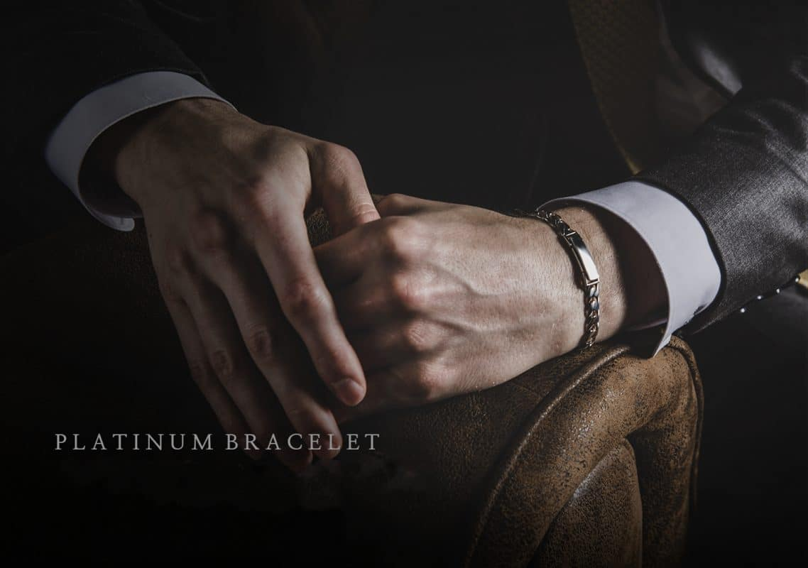 platinum curb chain bracelet for men from ByEnzo Jewelry