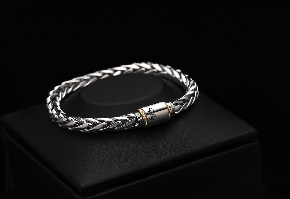 men's platinum wheat chain bracelet handcrafted jewelry 7mm chain from ByEnzo Jewelry