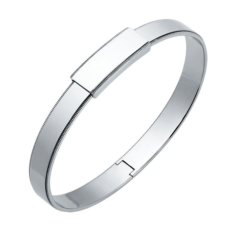 platinum bangle men's bracelet in 8mm with migrain