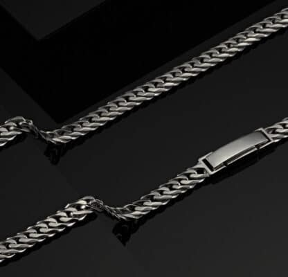 Double Cuban Chain Necklace for Men in Byenzo Jewelry
