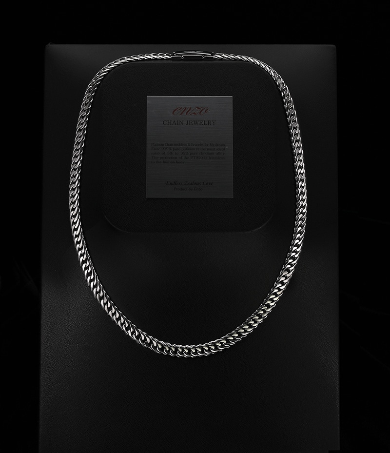 double cuban chain necklace in platinum